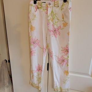 women sz 6 averardo Bessi pants white floral Italy